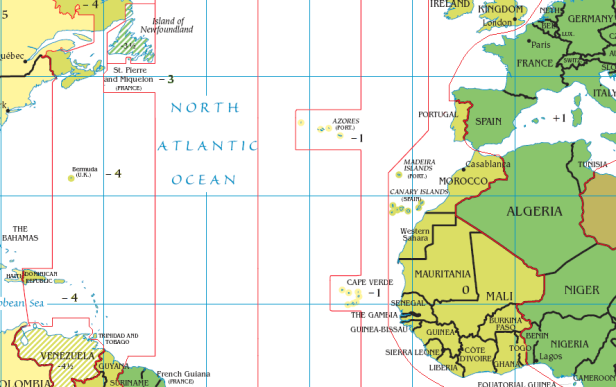 Huso horario Azores y Canarias